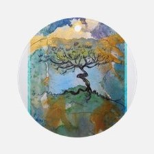 Tree, beautiful, art, Ornament (Round)