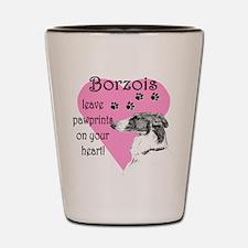 Borzoi Pawprint Heart Shot Glass