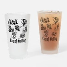 English Bulldog Sketches Drinking Glass