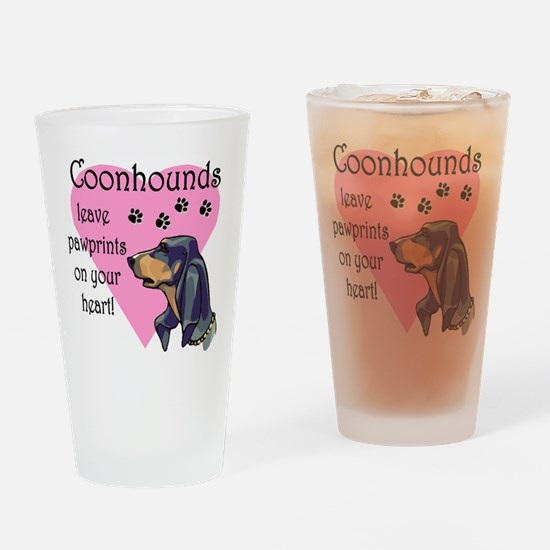 Coonhound Pawprints Drinking Glass