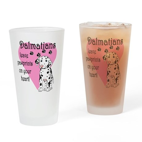 Dalmatian Pawprints Drinking Glass