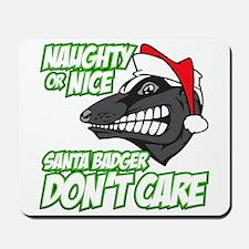 Green Santa Badger Don't Care Mousepad