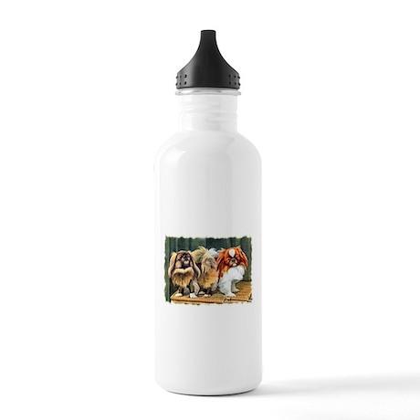 Vintage Pekingese Art Stainless Water Bottle 1.0L