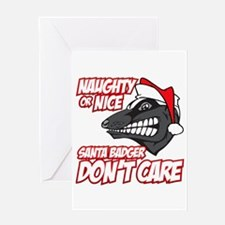 Red Santa Badger Don't Care Greeting Card