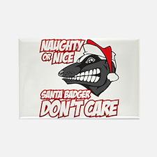 Red Santa Badger Don't Care Rectangle Magnet (100
