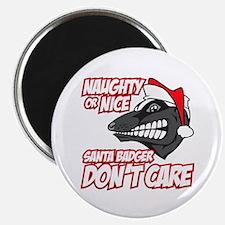 """Red Santa Badger Don't Care 2.25"""" Magnet (100 pack"""