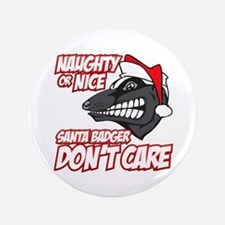 "Red Santa Badger Don't Care 3.5"" Button (100 pack)"