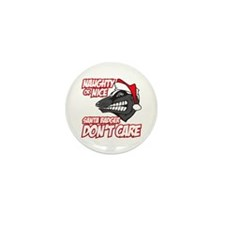 Red Santa Badger Don't Care Mini Button (10 pack)