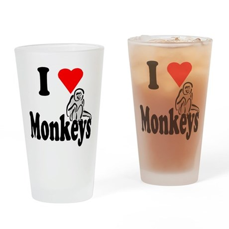 I Heart Monkeys Drinking Glass