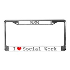I Love Social Work License Plate Frame-BSW