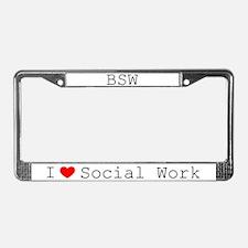 I Love Social Work License Plate Frame-BSW