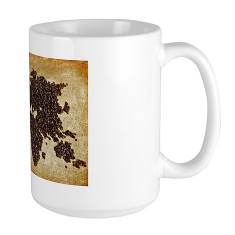 Coffee Bean World Map Large Mug