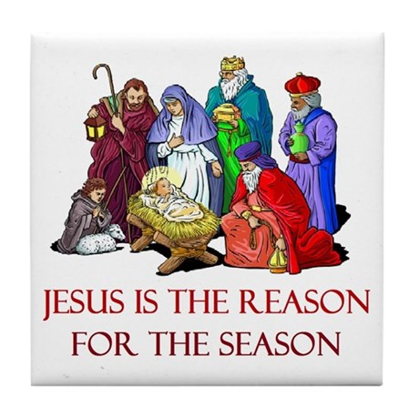 Christmas Jesus is the reason for the season Tile by 1stopshoppingts