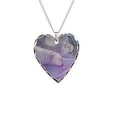 Polar bear and Angel Necklace Heart Charm
