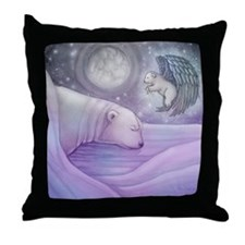 Polar bear and Angel Throw Pillow