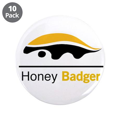 """Honey Badger & Moustache Cloc 3.5"""" Button (10 pack"""
