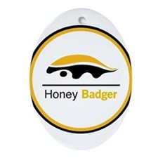 Honey Badger & Moustache Cloc Ornament (Oval)