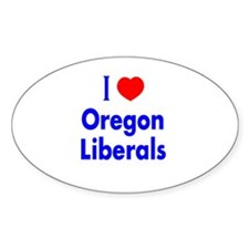 I Love Oregon Liberals Oval Decal