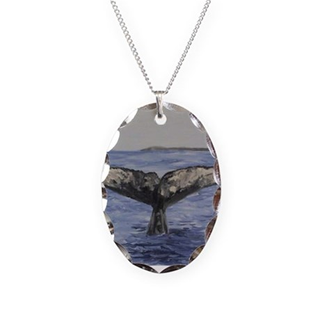 Whale Necklace Oval Charm