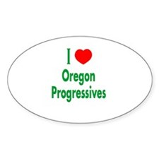 I Love Oregon Progressives Oval Decal