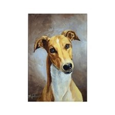 Fawn and White Greyhound Rectangle Magnet