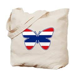 Thai Butterfly Flag Silhouette Tote Bag