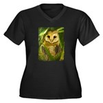 Palm Tree Owlet Women's Plus Size V-Neck Dark T-Sh