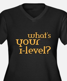 what's your i-lvl? Women's Plus Size V-Neck Dark T