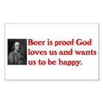 Ben Franklin: Beer Quote Sticker (Rectangle 10 pk)