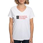 Ben Franklin: Beer Quote Women's V-Neck T-Shirt