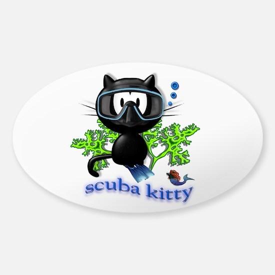 scuba kitty Sticker (Oval)