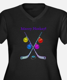Cute Hockey players Women's Plus Size V-Neck Dark T-Shirt
