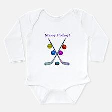 Cute Christmas hockey Long Sleeve Infant Bodysuit