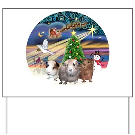 XmasMagic-3 GuineaPigs Yard Sign