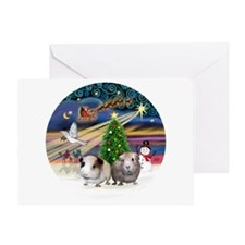 XmasMagic-2 Guinea Pigs Greeting Card