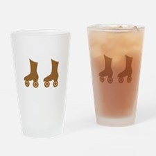 Brown Roller Skates Pint Drinking Glass