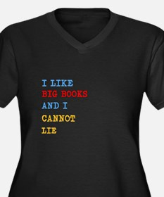 Big Books Women's Plus Size V-Neck Dark T-Shirt