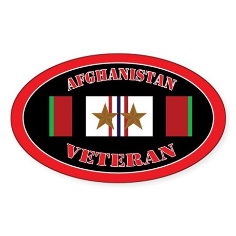 Afghanistan Veteran 2 Campaign Stars Sticker (Oval