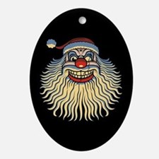 Scary Santa Clown Ornament (Oval)