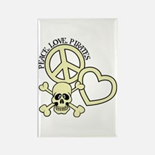 Peace,Love,Pirates Rectangle Magnet
