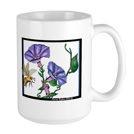 bee with morning glories Large Mug