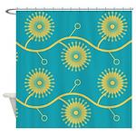Spirolap Turquoise Shower Curtain