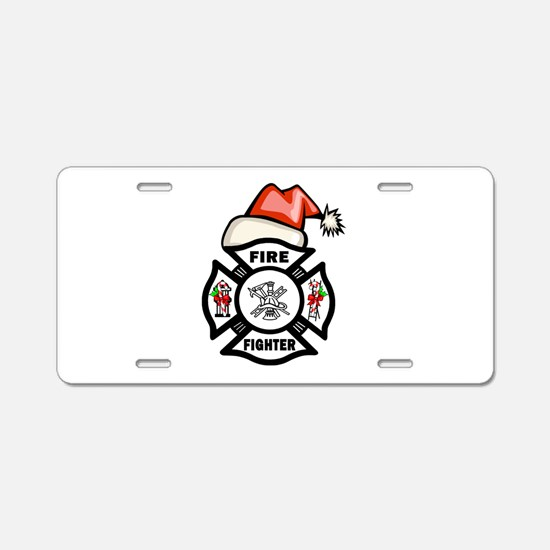 Firefighter Santa Aluminum License Plate