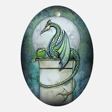 Green Dragon Fantasy Art Ornament (Oval)