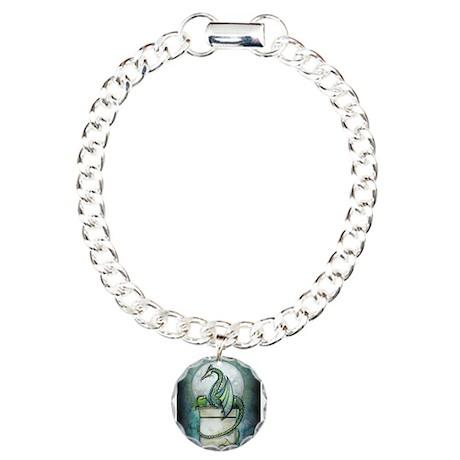 Green Dragon Fantasy Art Charm Bracelet, One Charm