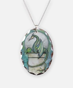 Green Dragon Fantasy Art Necklace Oval Charm