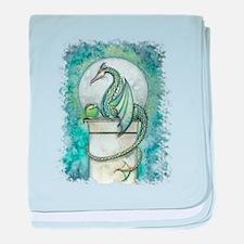 Green Dragon Fantasy Art baby blanket