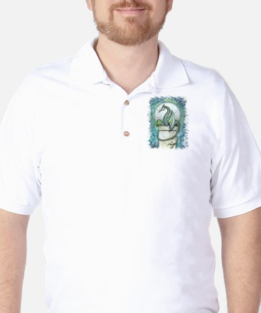 Green Dragon Fantasy Art Golf Shirt