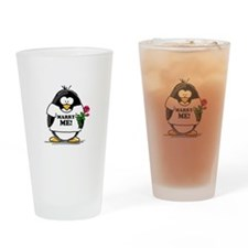 Marry Me Penguin with Rose Drinking Glass