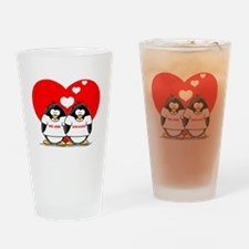 We Are Engaged Penguins Drinking Glass